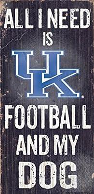 Kentucky Wildcats Wood Sign - Football And Dog 6''x12''