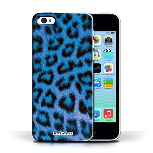 Etui / Coque pour Apple iPhone 5C / Bleu conception / Collection de Peau de Léopard Animal