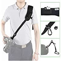 IMORDEN Flash F-1 Neoprene Quick Anti-slip Shoulder Camera Strap Sling for Canon Sony Nikon DSLR Cameras with 1/4 Screw, Safety Tether and Zipper Pocket, for Men and Petite Women, Farewell Neck Pain