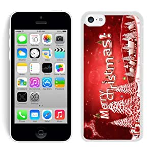 Iphone 5C Case,Red Merry Christmas Snow Tree White Cover Case Fit Iphone 5C Cover