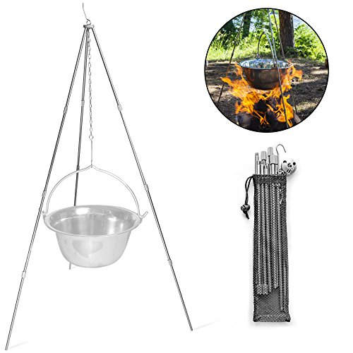 Camping Guru Outdoor Camping Cooking Tripod - Adjustable Size, Stainless Steel Pot Holder with Hanger Bracket & Storage Bag | Portable Lightweight Stand Perfect for Backpacking or Hiking by Camping Guru