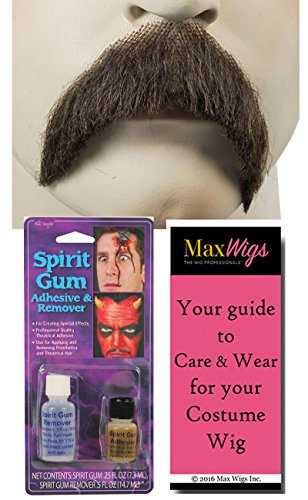Walrus Mustache Color LT Grey - Lacey Wigs Human Hair Roosevelt Stalin Cowboy Lace Backed Hand Made Facial Bundle w/Spirit Gum and Remover, MaxWigs Costume Wig Care Guide -