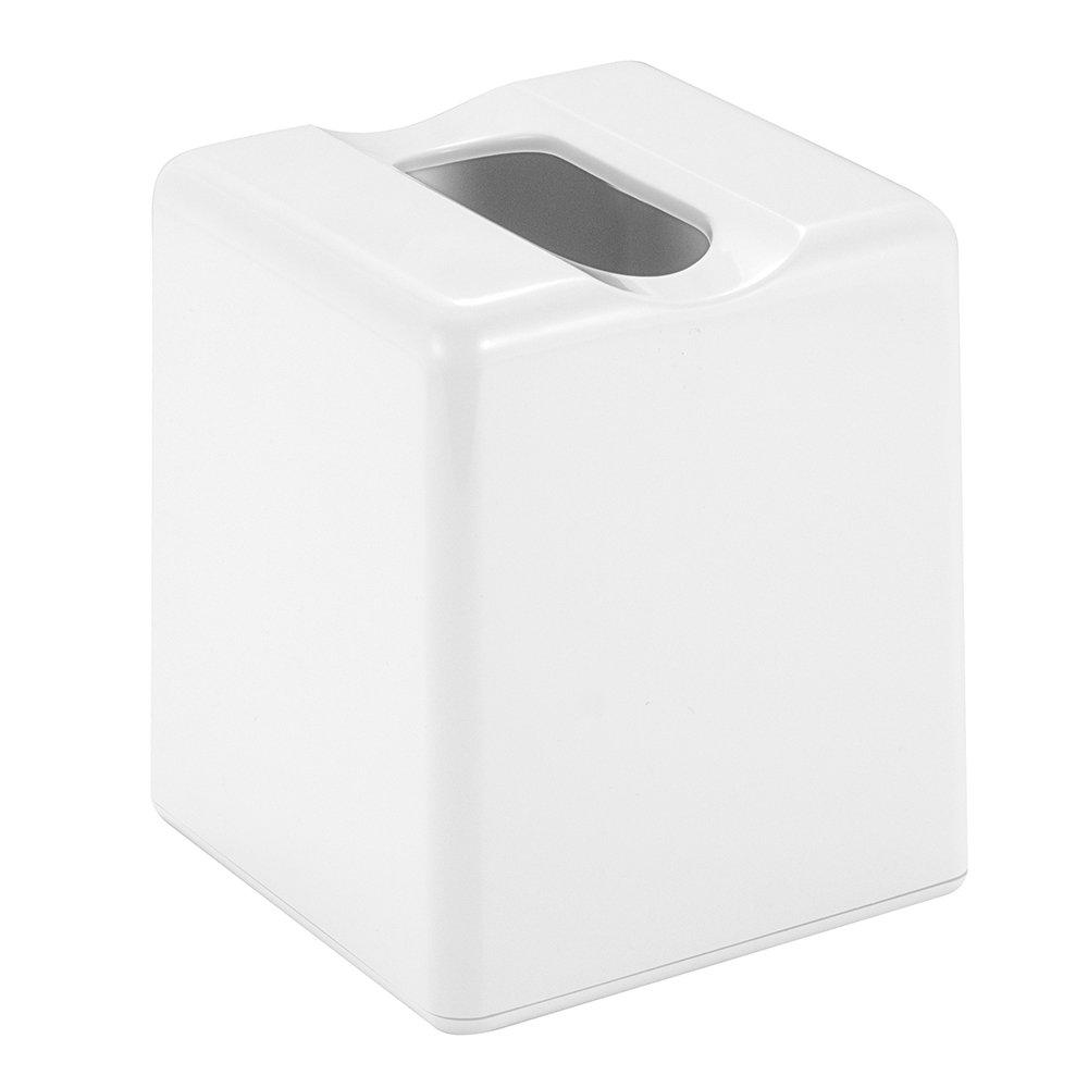 InterDesign Facial Tissue Box Holder – Modern Tissue Box Cover for Bathroom, Bedroom or Office, White