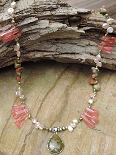 (Olive/Cherry Jasper Pendant & Cherry Quartz Necklace, Bracelet & Earrings)