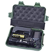 Compia 100,000 hours Lifespan 5 Light Modes Zoomable Cree XML T6 LED Keychain Flashlight+18650 Battery+Charger+Keychain+Military Box+Nylon Pouch