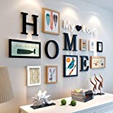 Home@Wall photo frame Solid Wood Gallery Frame Set Of Wall , Fashion Home Decoration Photo Gallery Frame With Usable Artwork And Family, Set Of 16 ( Color : D )