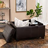 Leather Storage Ottoman with Tray Justin Brown Leather Tray Top Storage Ottoman