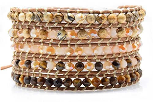Tiger Eye Jasper and Pink Jade Wrap Bracelet Natural Brown Leather 5 Layers 4 Mm Beads Fashion (Emerson Wrap)
