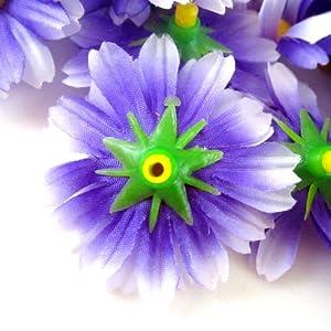 "(100) Silk Purple White Edge Gerbera Daisy Flower Heads , Gerber Daisies - 1.75"" - Artificial Flowers Heads Fabric Floral Supplies Wholesale Lot for Wedding Flowers Accessories Make Bridal Hair Clips Headbands Dress 3"
