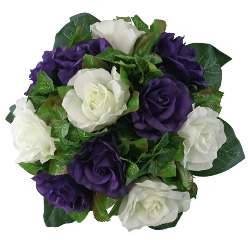 Purple and Ivory Silk Rose Nosegay - Bridal Wedding Bouquet ()