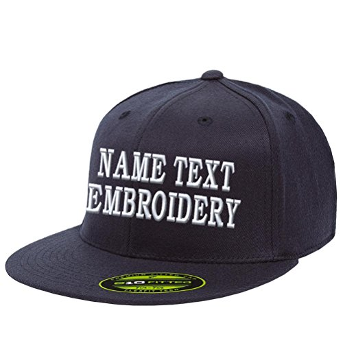 Caprobot iD Custom Embroidery Hat Personalized Name Text Flexfit 6210 Embroidered Size Cap Dark Navy Blue SZ (Pro Model Fitted Wool Cap)