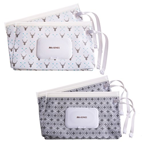 Ava & Kings 4pc Baby Wipes Travel Carrying Case Holder Dispenser Refillable Moist Diaper Wet Wipe Clutch w/Button Strap Unisex Variety Pack |New & Improved Design| Set 2: White Arrow & Gray Pixel