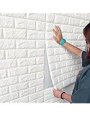 Sujrtuj 3D-wandpanelen, zelfklevend, baksteenmotief, behang, 70 x 77 cm, van PE-schuim, DIY, reliëf, muurstickers, muurdecoratie, wit, 10 stuks