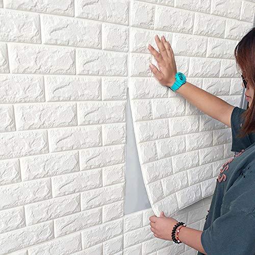 Lot de 10 panneaux muraux 3D autocollants aspect pierre 70 x 77 cm en mousse PE pour travaux manuels, papier peint mural…