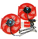 Set of 2 Universal 10 inch Slim Fan Push Pull Electric Radiator Cooling 12V Mount Kit RED