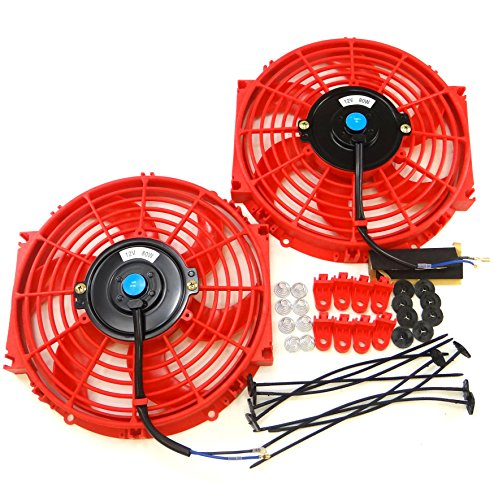 (Set of 2 Universal 10 inch Slim Fan Push Pull Electric Radiator Cooling 12V Mount Kit RED)