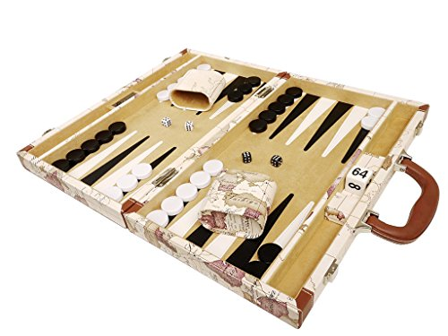 - Middleton Games NEW! - 15-inch Luxurious Map Backgammon Set - White Board