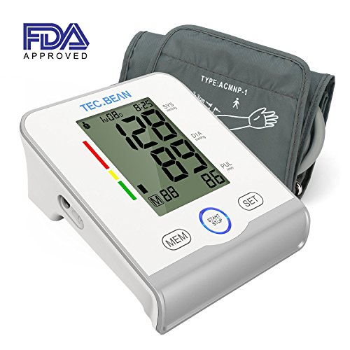 TEC.BEAN Arm Blood Pressure Monitor - Accurate, FDA Approved - Adjustable Cuff, Large Screen Display - Irregular Heartbeat & Hypertension Detector by ()