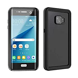 SmileNut Samsung Galaxy s7 edge Case Waterproof, Ip68 Certified Full Body Underwater and Military Grade Protective Shockproof Cover - Black/Transparent
