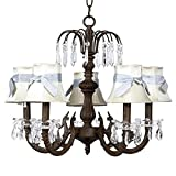 Jubilee Collection - Mocha waterfall chandelier with plain ivory shades tied with blue sashes. 18 1/4W x 17 1/2H