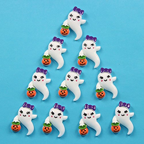 Bulk 10pcs Ghost Girly Boo w/ Pumpkin Halloween Flatback Resin Scrapbooking Cabochons DIY Hair Bow Center Decoration Embellishments -