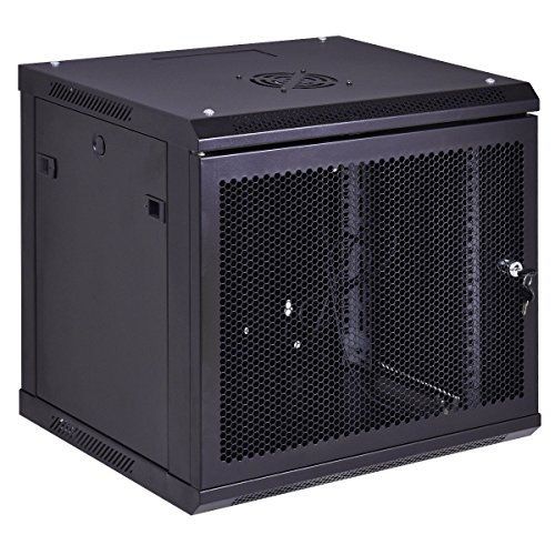 Safstar Wall Mount IT Network Server Cabinet Enclosure Data Devices Rack (12U, Mesh Grid Type)