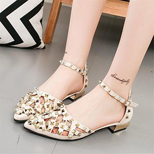 YEEY Zapatos cerrados para mujer primavera autom tobillo correa de tacón alto talón sandalias remaches trabajo banquete negro apricot