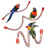 Jusney Bird Rope Perches, Comfy Perch Parrot Toys Rope Bungee Bird Toy (17Inch)