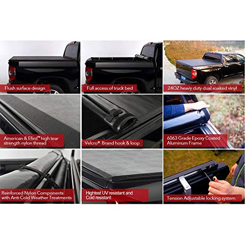 1261 Deebior Black Vinyl Soft Lock /& Roll-up Tonneau Cover Clamp On No Drill Top Mount Assembly for Chevy Silverado//GMC Sierra 14-18 1500 15-18 2500//3500 HD Pickup Fleetside 6.5FT Bed