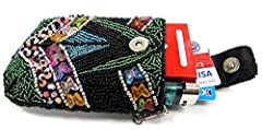 Hard to find stylish hand-made beaded cigarette case with two chains; Slim stylish design with multi color and shaped beads; Fully beaded front and back; Carry it in your purse or by itself with detachable wrist or shoulder chains; Enough roo...