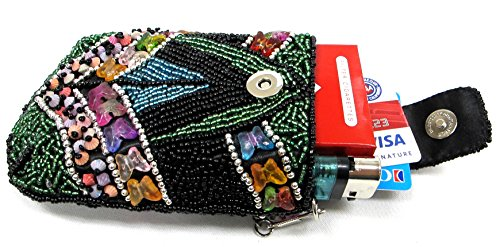 (Stylish Lady Women's Beaded Cigarette Case Pouch w/ Chain Fit 100's Hard or Soft Pack - BLACK)