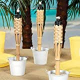 Mini Bamboo Tiki Torches (Case Of 12) Luau Party Tabletop Lighting