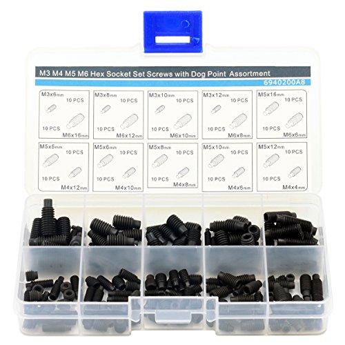 M3 M4 M5 M6 Hex Socket Set Screws with Dog Piont Assortment Kit,Alloy Steel,200 pieces,Black