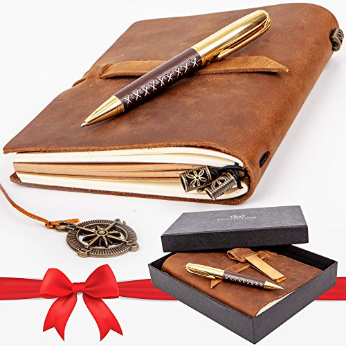 Premium Leather Journal Set: Real Authentic Antique Style & Handmade Leather-Bound Travel Diary for Artistic Men and Women. This Versatile Refillable Notebook is Ideal as a Graduation or Holiday (Style Journal Set)