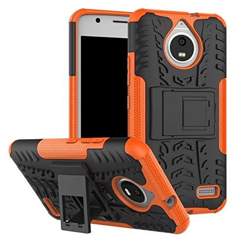Moto E4 Case, AOSOK [New] [Hot Colors] [Unique] Heavy Duty Dual Layer Hybrid Shock Absorption High Impact Resistant Drop Protection Case Cover With Kickstand Motorola Moto E4 (Orange)