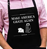 Funny Donald Trump Apron - Make America Grate Again - 1 Size Fits All Presidential BBQ Apron - Poly/Cotton 4 Utility Pockets, Adjustable Neck and Extra Long Waist Ties