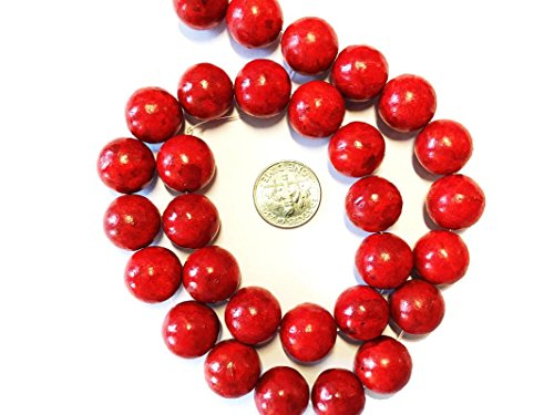(Sponge Red Coral (Dyed/Coated) Gemstone Beads for Jewelry Making 14mm Round)