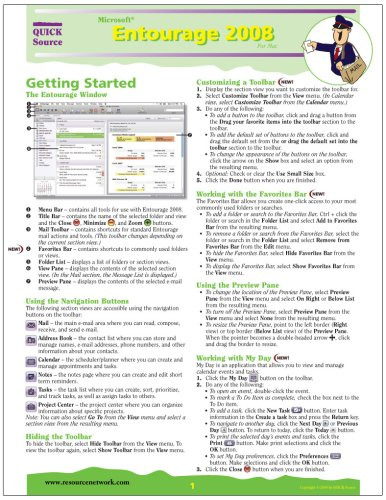Microsoft Entourage 2008 For Mac Quick Source Reference Guide Quick Source
