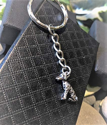 Handmade Silver Dalmation Dog Keyring/Handbag Charm. Can be personalised.