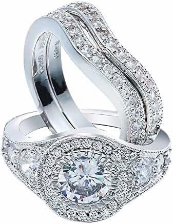 UFOORO 3Pcs Ring Sets Paved White Zircon Diamond Platinum Plated Luxury Jewelry For Women