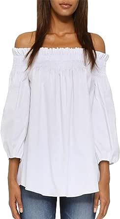 ZANZEA Camisa Mujer Manga 3/4 Sin Hombros Sexy Camisetas Mujer Baratas Blusas Irregular