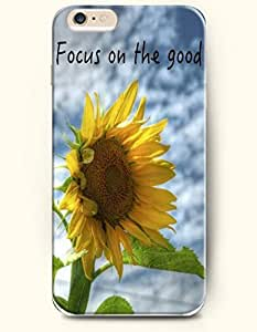 OOFIT Apple iPhone 6 (4.7 inches) Case - Life Inspirational Quotes Focus On The Good / Sunflower In The Wind