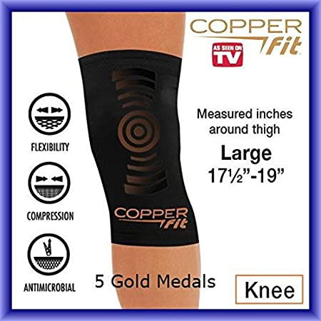 4d4ae7d2bd Amazon.com: Copper Fit KNEE BRACE Compression Sleeve As Seen on TV Joint  Pain Size Large: Health & Personal Care