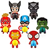 Ticiaga 7pcs Superhero Honeycomb Centerpieces, Table Topper for Birthday Party Decoration, Double Sided Cake Topper, Photo Booth Props, Superhero Party Supplies Mix of Captain, Spider Man, Thor, Iron