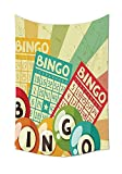 Vintage Decor Tapestry Bingo Game with Ball and Cards Pop Art Stylized Lottery Hobby Celebration Theme Wall Hanging for Bedroom Living Room Dorm Multi