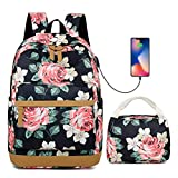 Teen Girl's Rose High School Bookbag College Backpack Set Shopping Travel Rucksack 15Inch Laptop Bag with USB Charging Port Floral