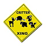 Yetta Quiller Critter Crossing Metal Aluminum Novelty Sign 12 in x 12 in