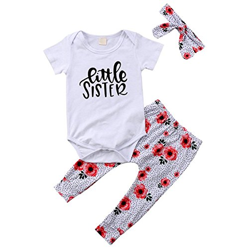 Baby Girls Family Matching Clothing Set Little Big Sister Romper Shirt Tops+Gold Heart Long Pants Outfit Set