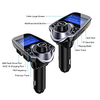 """Victsing Bluetooth Fm Transmitter For Car, Wireless Bluetooth Radio Transmitter Adapter With Hand-free Calling & 1.44"""" Lcd Display, Music Player Support Tf Card Usb Flash Drive Aux Inputoutput 7"""
