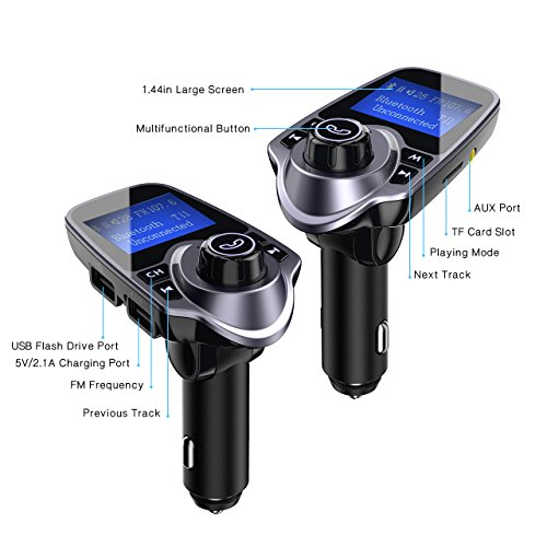 "VicTsing Bluetooth FM Transmitter for Car, Wireless Bluetooth Car Adapter Car Kit with Hand-Free Calling and 1.44"" LCD Display, Music Player Support TF Card USB Flash Drive AUX Input/Out"